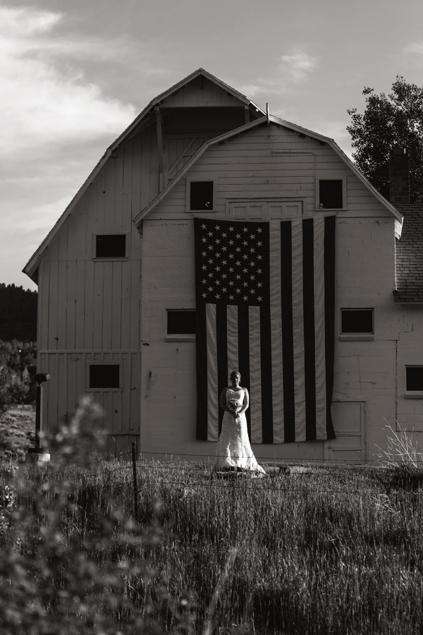 American Flag and Bride Photo
